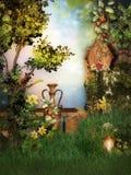 Scénario d'imagination dans le jardin Images stock