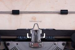 Scénario de Word dactylographié par la machine à écrire Photographie stock