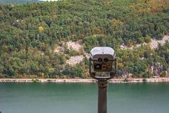 scénique donnez sur de couleurs de chute chez Devil& x27 ; lac le Wisconsin de s Images libres de droits