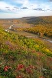 Scénique donnez sur de la grande rivière de carpe, montagnes Michigan de porc-épic, Photos libres de droits