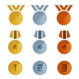 Scénographie argentée de vecteur d'icône de médailles de bronze d'or Photo libre de droits