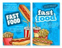 Scénographie de calibre d'affiche de croquis de déjeuner d'aliments de préparation rapide illustration de vecteur