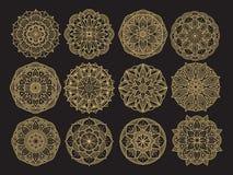 Scénographie de mandala de Golgen Collection décorative asiatique, Arabe, coréenne de mandala de fleur Illustration Stock