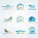 Scénographie de vecteur de logo d'avion de Rocket et d'air illustration stock