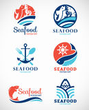 Scénographie de vecteur de logo de restaurant et de poissons de fruits de mer Photo stock