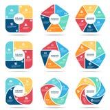 Scénographie infographic de vecteur pentagone et de partie quatre, de partie cinq et de partie carrés six d'hexagone Photos stock