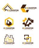 Scénographie jaune et brune de vecteur de logo d'excavatrice illustration stock