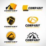 Scénographie jaune et noire de vecteur de logo de service de pelle rétro Photographie stock