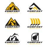 Scénographie jaune et noire de vecteur de logo de service de pelle rétro illustration libre de droits