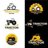 Scénographie jaune et noire de vecteur de logo de tracteur illustration libre de droits
