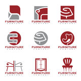 Scénographie moderne rouge et grise de vecteur de logo de meubles et de décor Images stock