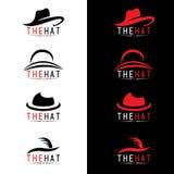 Scénographie noire et rouge de vecteur de logo de chapeau Images libres de droits