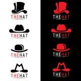 Scénographie noire et rouge de vecteur de logo de chapeau Image stock