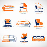 Scénographie orange et bleue de vecteur de logo de meubles