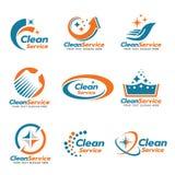 Scénographie propre orange et bleue de vecteur de logo de service illustration de vecteur