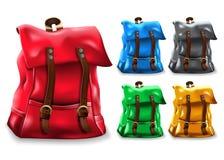 Scénographie réaliste de sac du sac à dos 3D avec différentes variations de couleur comme rouge, bleu illustration de vecteur