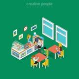 Sc равновеликой плоской комнаты кафа питья 3d еды внутренний Стоковое Фото