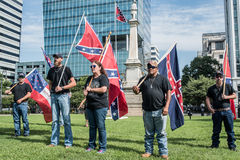 SC Confederate Flag Rally. Columbia, South Carolina - July, 10, 2017: A few dozen of Confederacy supporters display their loyalty to the Confederate flag during Royalty Free Stock Photo