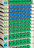 SC connector fiber optic rack Stock Image