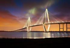 SC da ponte de suspensão do rio do tanoeiro de Arthur Ravenel Foto de Stock Royalty Free