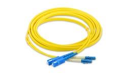 SC för kabel för lapp för enkelt funktionsläge för fiberoptik till LC-kontaktdonet Royaltyfria Foton