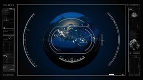 Sc.i-FI is een interface van de douane futuristische beeldzoeker voor foto en videocamera's, een high-tech ruimtevaartuig HUD stock illustratie