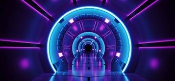 sc.i-FI Futuristisch Abstract Gradiënt Blauw Purper Roze Neon Glowin royalty-vrije illustratie