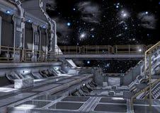 sc.i-fictie ruimteschip op unverse vector illustratie