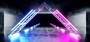 Sc.i-het Neon van Achtergrond FI Driehoek Gestalte gegeven Structuurstadium het Gloeien Concrete Cyberpunk Witte Blauwe Purpere G vector illustratie