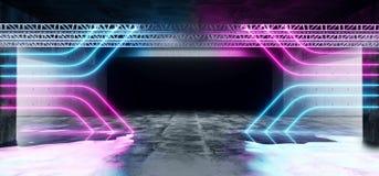 Sc.i-het Neon van Achtergrond FI Lijn Gestalte gegeven Structuurstadium het Gloeien Concrete Cyberpunk Witte Blauwe Purpere Grung vector illustratie