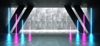 Sc.i-het Neon van de de van Achtergrond FI Gang Purpere Blauwe Ultraviolette de Gloeiende Concrete van Cyberpunk Weerspiegelende  royalty-vrije illustratie