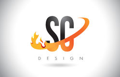 SC S C Letter Logo with Fire Flames Design and Orange Swoosh. SC S C Letter Logo Design with Fire Flames and Orange Swoosh Vector Illustration Royalty Free Stock Images