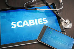 Scabies (infectious disease) diagnosis medical concept on tablet. Screen with stethoscope Royalty Free Stock Photos