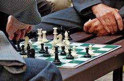 Scacchi del gioco degli uomini Immagini Stock Libere da Diritti