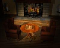 Scacchi del gioco, illustrazione della stanza del gioco Immagini Stock
