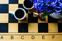 Scacchi e caffè Fotografia Stock Libera da Diritti