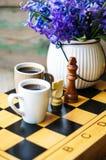 Scacchi e caffè Immagine Stock Libera da Diritti