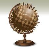 Scacchi su un globo Immagine Stock