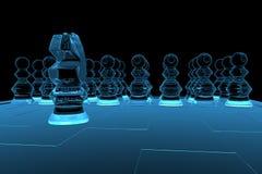 Scacchi trasparenti resi dei raggi X blu Fotografia Stock Libera da Diritti