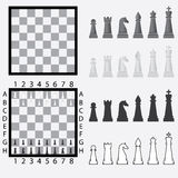 Scacchiera con le parti di scacchi. Fotografie Stock