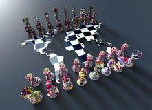 Scacchiera dalla mappa di mondo con il gioco di scacchi illustrazione di stock