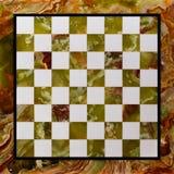 Scacchiera di pietra di marmo - vista superiore di una tavola elegante e vecchia di scacchi vuota Fotografia Stock