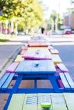 Scacchiera sulla Tabella di picnic verde Fotografie Stock