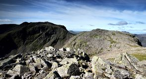Scafell Pike. Route from Broad Crag to Scafell Pike Stock Images