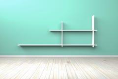 Scaffale bianco bianco della stanza verde chiaro interna vuota Fotografie Stock Libere da Diritti