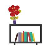 scaffale decorativo variopinto con i fiori ed i libri del vaso Fotografia Stock