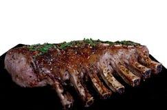 Scaffale del ristorante della carne del buongustaio del bbq delle costole di maiale Fotografia Stock