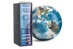 Scaffale del server con il globo della terra Il concetto globale di Internet, 3D rende Immagini Stock