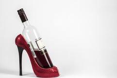 Scaffale del vino della scarpa Fotografia Stock