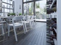 Scaffale del vino su sala da pranzo Immagini Stock